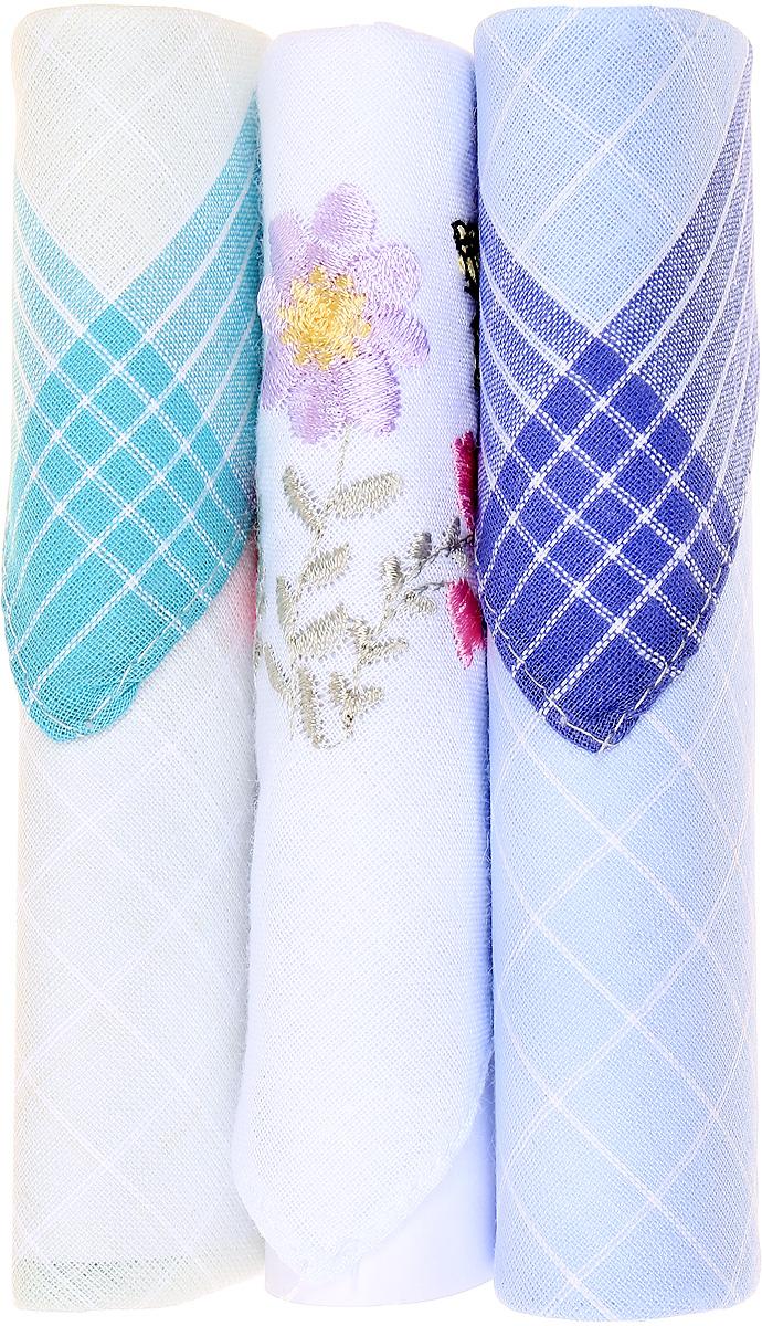 Платок носовой женский Zlata Korunka, цвет: бирюзовый, белый, голубой, 3 шт. 40423-107. Размер 28 см х 28 смСерьги с подвескамиНебольшой женский носовой платок Zlata Korunka изготовлен из высококачественного натурального хлопка, благодаря чему приятен в использовании, хорошо стирается, не садится и отлично впитывает влагу. Практичный и изящный носовой платок будет незаменим в повседневной жизни любого современного человека. Такой платок послужит стильным аксессуаром и подчеркнет ваше превосходное чувство вкуса.В комплекте 3 платка.