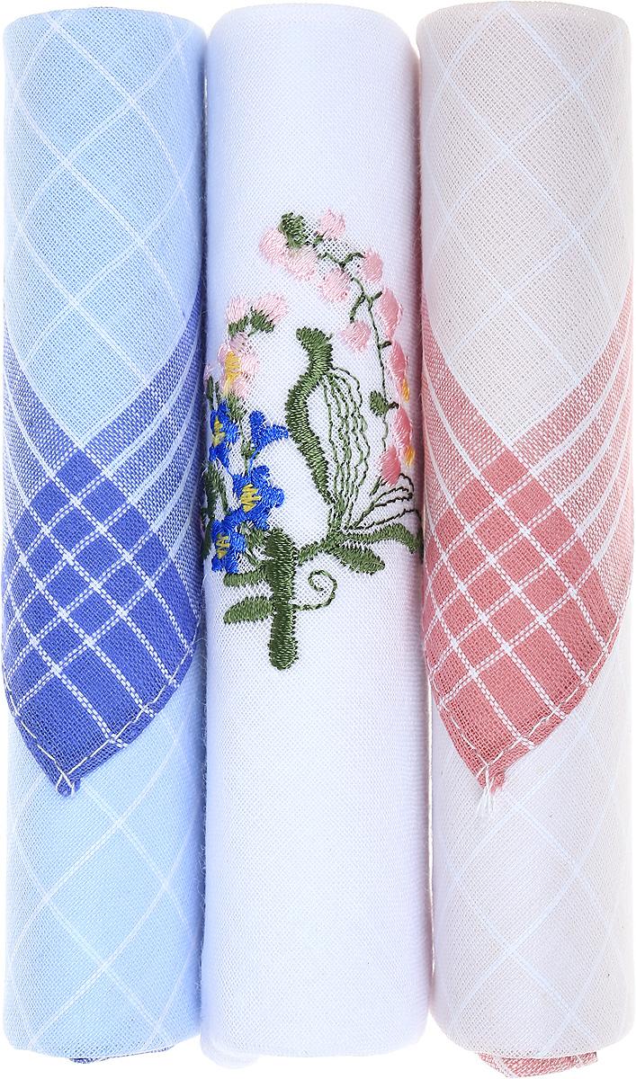Платок носовой женский Zlata Korunka, цвет: голубой, белый, розовый, 3 шт. 40423-98. Размер 28 см х 28 смСерьги с подвескамиНебольшой женский носовой платок Zlata Korunka изготовлен из высококачественного натурального хлопка, благодаря чему приятен в использовании, хорошо стирается, не садится и отлично впитывает влагу. Практичный и изящный носовой платок будет незаменим в повседневной жизни любого современного человека. Такой платок послужит стильным аксессуаром и подчеркнет ваше превосходное чувство вкуса.В комплекте 3 платка.