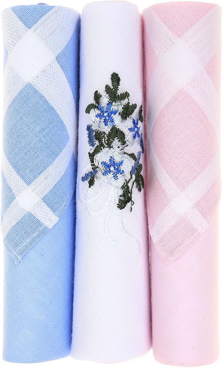 Платок носовой женский Zlata Korunka, цвет: голубой, белый, розовый, 3 шт. 40423-42. Размер 28 см х 28 см39864|Серьги с подвескамиНебольшой женский носовой платок Zlata Korunka изготовлен из высококачественного натурального хлопка, благодаря чему приятен в использовании, хорошо стирается, не садится и отлично впитывает влагу. Практичный и изящный носовой платок будет незаменим в повседневной жизни любого современного человека. Такой платок послужит стильным аксессуаром и подчеркнет ваше превосходное чувство вкуса.В комплекте 3 платка.