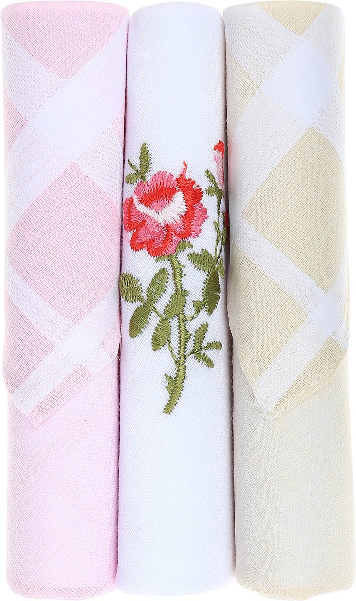Платок носовой женский Zlata Korunka, цвет: розовый, белый, бежевый, 3 шт. 40423-85. Размер 28 см х 28 смБрошь-булавкаНебольшой женский носовой платок Zlata Korunka изготовлен из высококачественного натурального хлопка, благодаря чему приятен в использовании, хорошо стирается, не садится и отлично впитывает влагу. Практичный и изящный носовой платок будет незаменим в повседневной жизни любого современного человека. Такой платок послужит стильным аксессуаром и подчеркнет ваше превосходное чувство вкуса.В комплекте 3 платка.