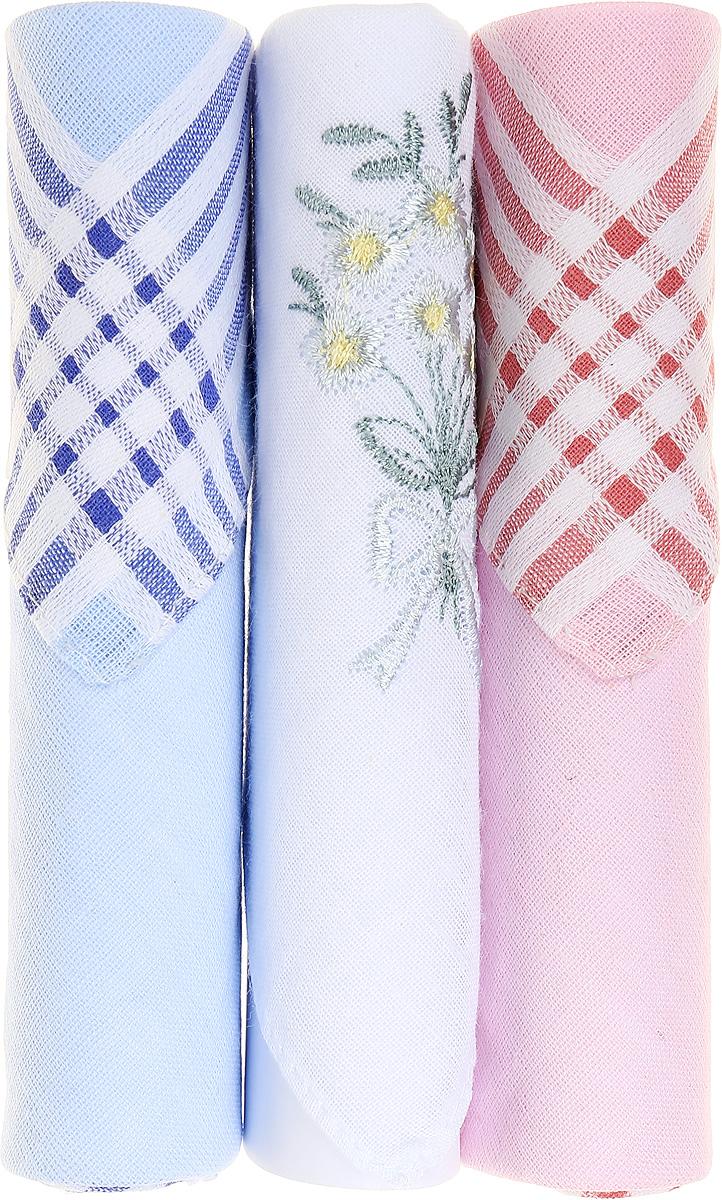Платок носовой женский Zlata Korunka, цвет: голубой, белый, розовый, 3 шт. 40423-120. Размер 28 см х 28 см39864|Серьги с подвескамиНебольшой женский носовой платок Zlata Korunka изготовлен из высококачественного натурального хлопка, благодаря чему приятен в использовании, хорошо стирается, не садится и отлично впитывает влагу. Практичный и изящный носовой платок будет незаменим в повседневной жизни любого современного человека. Такой платок послужит стильным аксессуаром и подчеркнет ваше превосходное чувство вкуса.В комплекте 3 платка.