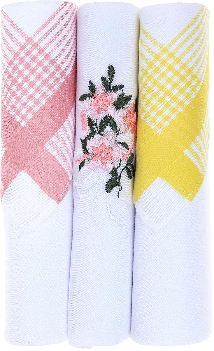 Платок носовой женский Zlata Korunka, цвет: розовый, белый, желтый, 3 шт. 40423-24. Размер 28 см х 28 смСерьги с подвескамиНебольшой женский носовой платок Zlata Korunka изготовлен из высококачественного натурального хлопка, благодаря чему приятен в использовании, хорошо стирается, не садится и отлично впитывает влагу. Практичный и изящный носовой платок будет незаменим в повседневной жизни любого современного человека. Такой платок послужит стильным аксессуаром и подчеркнет ваше превосходное чувство вкуса.В комплекте 3 платка.