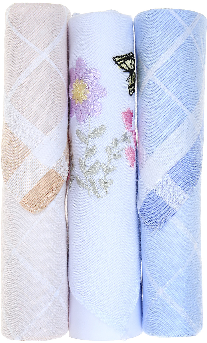 Платок носовой женский Zlata Korunka, цвет: бежевый, белый, голубой, 3 шт. 40423-51. Размер 28 см х 28 смАжурная брошьНебольшой женский носовой платок Zlata Korunka изготовлен из высококачественного натурального хлопка, благодаря чему приятен в использовании, хорошо стирается, не садится и отлично впитывает влагу. Практичный и изящный носовой платок будет незаменим в повседневной жизни любого современного человека. Такой платок послужит стильным аксессуаром и подчеркнет ваше превосходное чувство вкуса.В комплекте 3 платка.