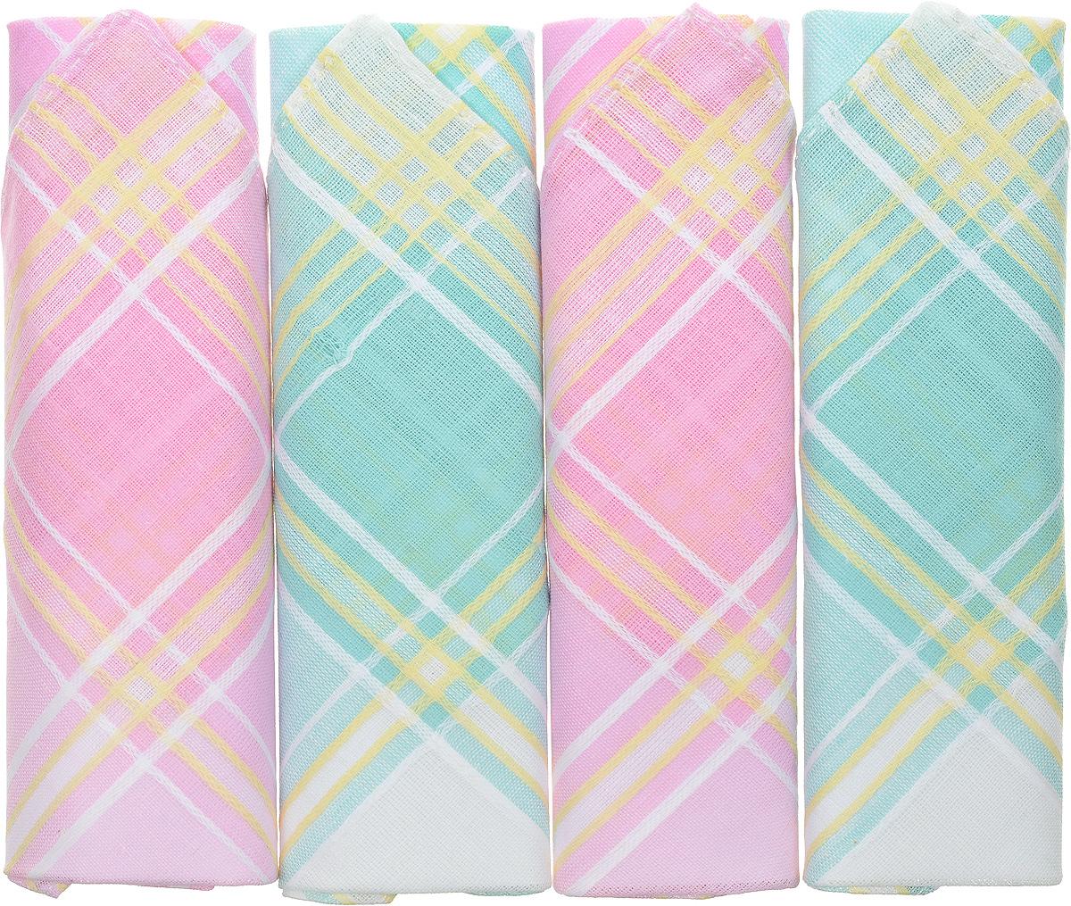 Платок носовой женский Zlata Korunka, цвет: розовый, бирюзовый, 4 шт. 71420-22. Размер 28 см х 28 см39864|Серьги с подвескамиОригинальный женский носовой платок Zlata Korunka изготовлен из высококачественного натурального хлопка, благодаря чему приятен в использовании, хорошо стирается, не садится и отлично впитывает влагу. Практичный и изящный носовой платок будет незаменим в повседневной жизни любого современного человека. Такой платок послужит стильным аксессуаром и подчеркнет ваше превосходное чувство вкуса.