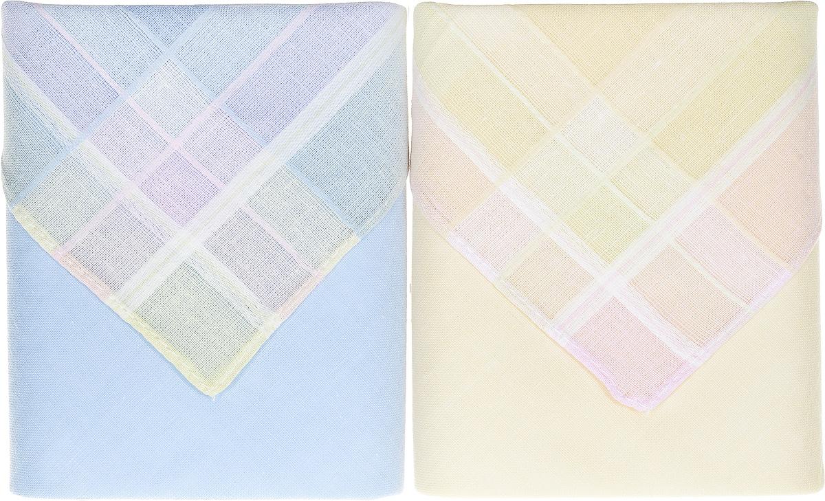 Платок носовой женский Zlata Korunka, цвет: голубой, бежевый, 2 шт. 90220-5. Размер 28 см х 28 см39864|Серьги с подвескамиОригинальный женский носовой платок Zlata Korunka изготовлен из высококачественного натурального хлопка, благодаря чему приятен в использовании, хорошо стирается, не садится и отлично впитывает влагу. Практичный и изящный носовой платок будет незаменим в повседневной жизни любого современного человека. Такой платок послужит стильным аксессуаром и подчеркнет ваше превосходное чувство вкуса.