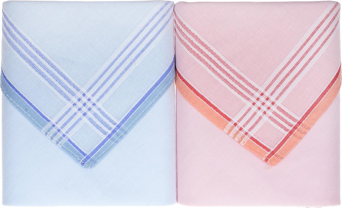 Платок носовой женский Zlata Korunka, цвет: голубой, розовый, 2 шт. 90220-3. Размер 28 см х 28 смСерьги с подвескамиОригинальный женский носовой платок Zlata Korunka изготовлен из высококачественного натурального хлопка, благодаря чему приятен в использовании, хорошо стирается, не садится и отлично впитывает влагу. Практичный и изящный носовой платок будет незаменим в повседневной жизни любого современного человека. Такой платок послужит стильным аксессуаром и подчеркнет ваше превосходное чувство вкуса.