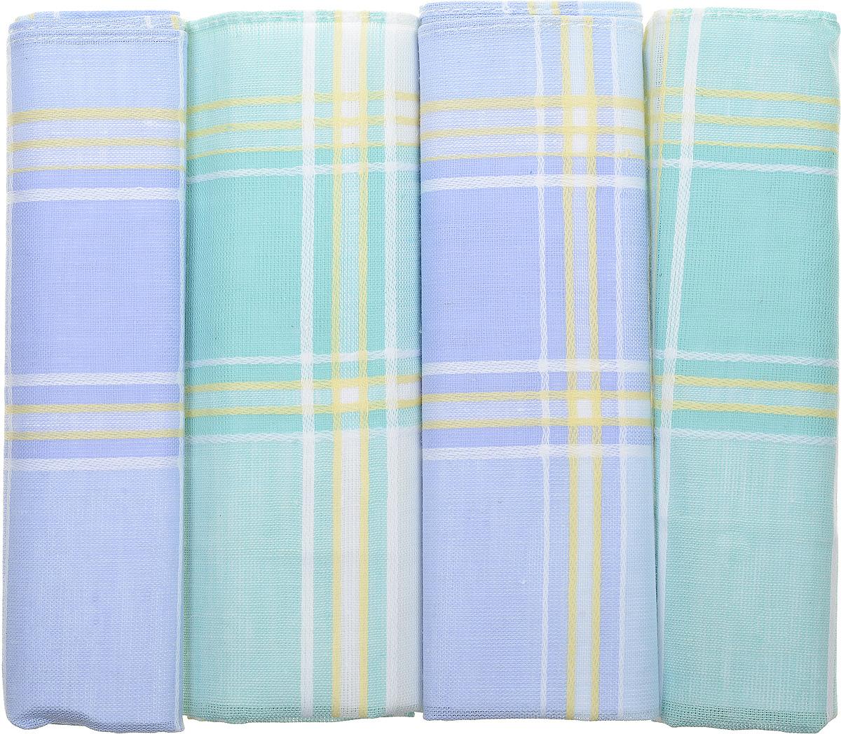Платок носовой женский Zlata Korunka, цвет: голубой, зеленый, 4 шт. 71420-32. Размер 28 см х 28 см39864|Серьги с подвескамиОригинальный женский носовой платок Zlata Korunka изготовлен из высококачественного натурального хлопка, благодаря чему приятен в использовании, хорошо стирается, не садится и отлично впитывает влагу. Практичный и изящный носовой платок будет незаменим в повседневной жизни любого современного человека. Такой платок послужит стильным аксессуаром и подчеркнет ваше превосходное чувство вкуса.