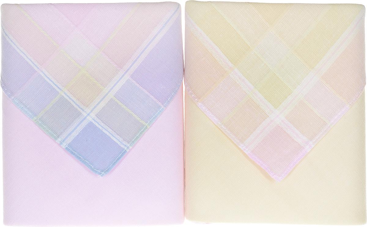Платок носовой женский Zlata Korunka, цвет: розовый, бежевый, голубой, 2 шт. 90220-7. Размер 28 см х 28 см39864|Серьги с подвескамиОригинальный женский носовой платок Zlata Korunka изготовлен из высококачественного натурального хлопка, благодаря чему приятен в использовании, хорошо стирается, не садится и отлично впитывает влагу. Практичный и изящный носовой платок будет незаменим в повседневной жизни любого современного человека. Такой платок послужит стильным аксессуаром и подчеркнет ваше превосходное чувство вкуса.