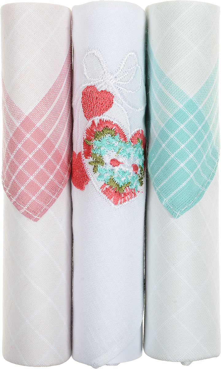 Платок носовой женский Zlata Korunka, цвет: розовый, белый, бирюзовый, 3 шт. 40423-20. Размер 28 см х 28 смСерьги с подвескамиНебольшой женский носовой платок Zlata Korunka изготовлен из высококачественного натурального хлопка, благодаря чему приятен в использовании, хорошо стирается, не садится и отлично впитывает влагу. Практичный и изящный носовой платок будет незаменим в повседневной жизни любого современного человека. Такой платок послужит стильным аксессуаром и подчеркнет ваше превосходное чувство вкуса.В комплекте 3 платка.