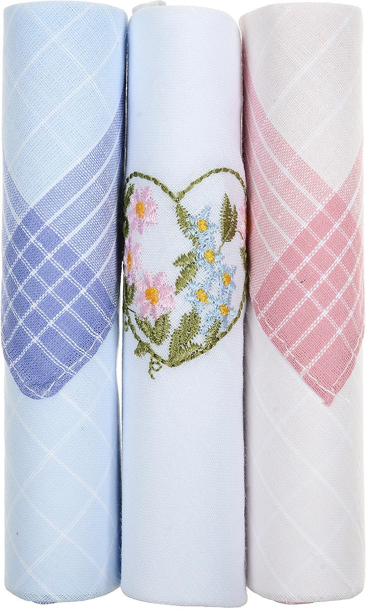 Платок носовой женский Zlata Korunka, цвет: голубой, белый, розовый, 3 шт. 40423-45. Размер 28 см х 28 смСерьги с подвескамиНебольшой женский носовой платок Zlata Korunka изготовлен из высококачественного натурального хлопка, благодаря чему приятен в использовании, хорошо стирается, не садится и отлично впитывает влагу. Практичный и изящный носовой платок будет незаменим в повседневной жизни любого современного человека. Такой платок послужит стильным аксессуаром и подчеркнет ваше превосходное чувство вкуса.В комплекте 3 платка.