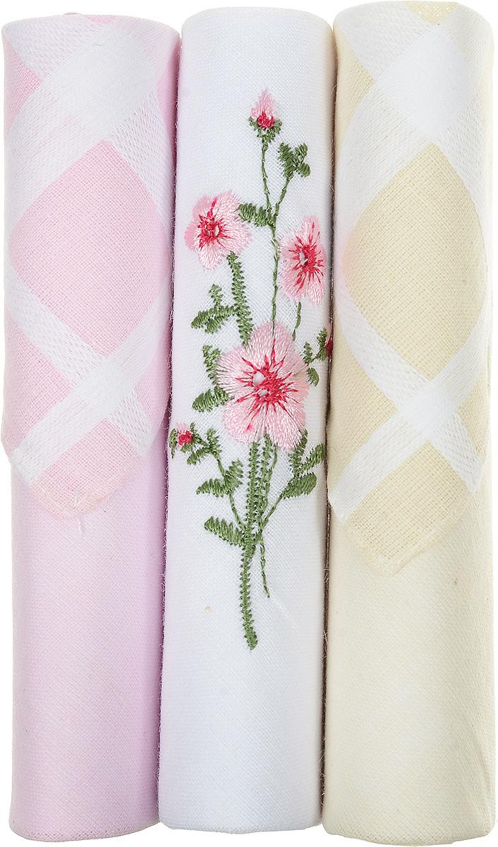 Платок носовой женский Zlata Korunka, цвет: розовый, белый, бежевый, 3 шт. 40423-82. Размер 28 см х 28 смБрошь-булавкаНебольшой женский носовой платок Zlata Korunka изготовлен из высококачественного натурального хлопка, благодаря чему приятен в использовании, хорошо стирается, не садится и отлично впитывает влагу. Практичный и изящный носовой платок будет незаменим в повседневной жизни любого современного человека. Такой платок послужит стильным аксессуаром и подчеркнет ваше превосходное чувство вкуса.В комплекте 3 платка.