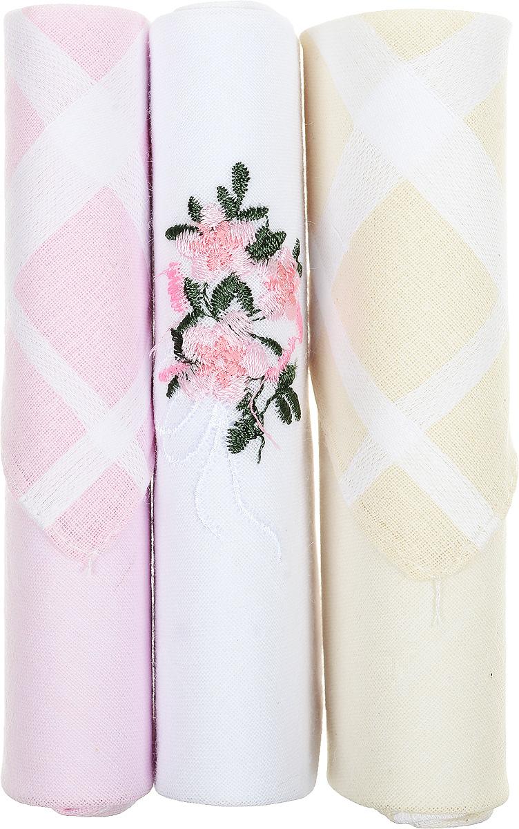 Платок носовой женский Zlata Korunka, цвет: розовый, белый, бежевый, 3 шт. 40423-41. Размер 28 см х 28 смСерьги с подвескамиНебольшой женский носовой платок Zlata Korunka изготовлен из высококачественного натурального хлопка, благодаря чему приятен в использовании, хорошо стирается, не садится и отлично впитывает влагу. Практичный и изящный носовой платок будет незаменим в повседневной жизни любого современного человека. Такой платок послужит стильным аксессуаром и подчеркнет ваше превосходное чувство вкуса.В комплекте 3 платка.