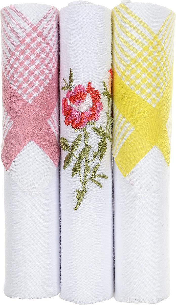 Платок носовой женский Zlata Korunka, цвет: розовый, белый, желтый, 3 шт. 40423-92. Размер 28 см х 28 см39864 Серьги с подвескамиНебольшой женский носовой платок Zlata Korunka изготовлен из высококачественного натурального хлопка, благодаря чему приятен в использовании, хорошо стирается, не садится и отлично впитывает влагу. Практичный и изящный носовой платок будет незаменим в повседневной жизни любого современного человека. Такой платок послужит стильным аксессуаром и подчеркнет ваше превосходное чувство вкуса.В комплекте 3 платка.