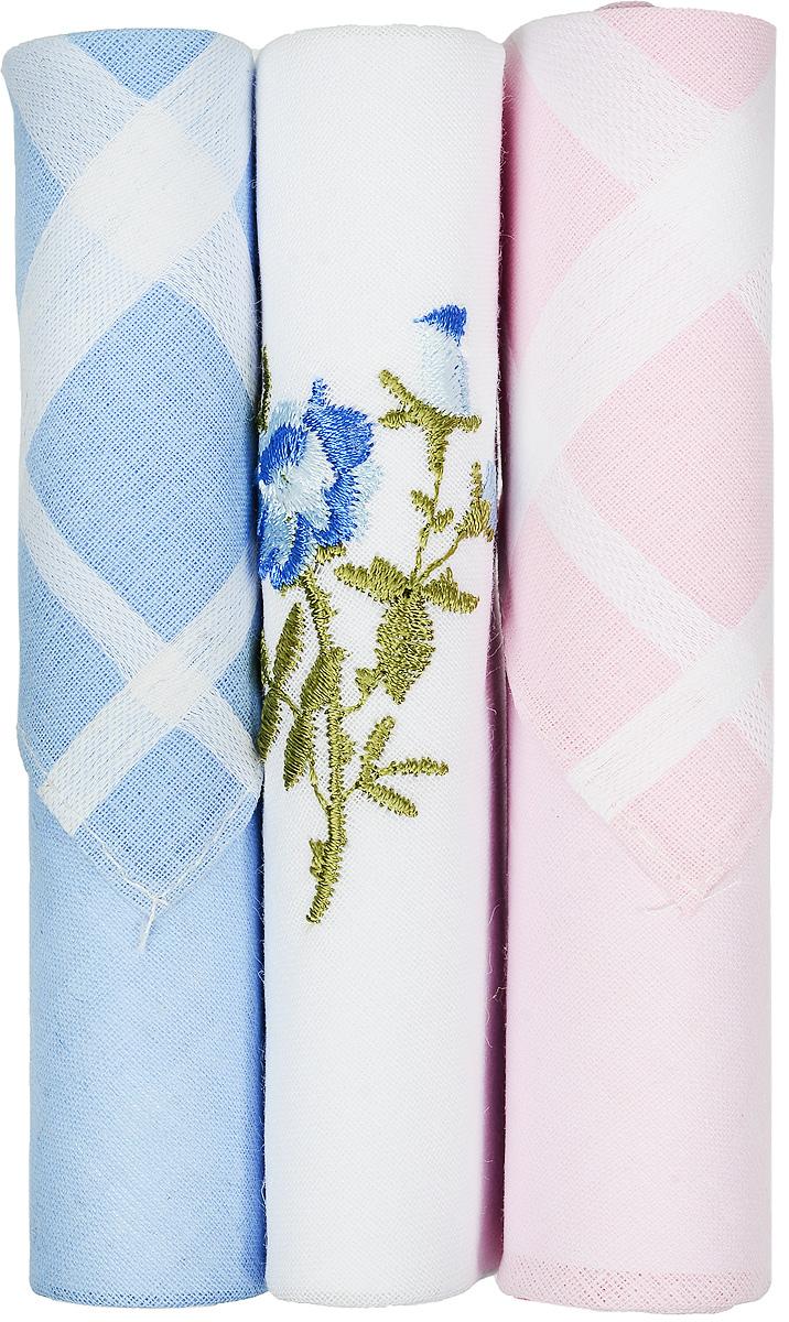 Платок носовой женский Zlata Korunka, цвет: голубой, белый, розовый, 3 шт. 40423-87. Размер 28 см х 28 смСерьги с подвескамиНебольшой женский носовой платок Zlata Korunka изготовлен из высококачественного натурального хлопка, благодаря чему приятен в использовании, хорошо стирается, не садится и отлично впитывает влагу. Практичный и изящный носовой платок будет незаменим в повседневной жизни любого современного человека. Такой платок послужит стильным аксессуаром и подчеркнет ваше превосходное чувство вкуса.В комплекте 3 платка.