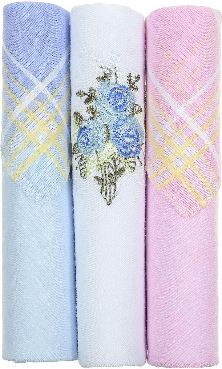 Платок носовой женский Zlata Korunka, цвет: голубой, белый, розовый, 3 шт. 40423-59. Размер 28 см х 28 смАжурная брошьНебольшой женский носовой платок Zlata Korunka изготовлен из высококачественного натурального хлопка, благодаря чему приятен в использовании, хорошо стирается, не садится и отлично впитывает влагу. Практичный и изящный носовой платок будет незаменим в повседневной жизни любого современного человека. Такой платок послужит стильным аксессуаром и подчеркнет ваше превосходное чувство вкуса.В комплекте 3 платка.