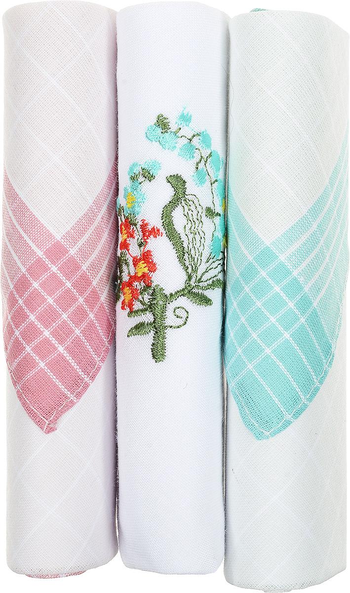 Платок носовой женский Zlata Korunka, цвет: белый, розовый, бирюзовый, 3 шт. 40423-97. Размер 28 см х 28 см39864|Серьги с подвескамиНебольшой женский носовой платок Zlata Korunka изготовлен из высококачественного натурального хлопка, благодаря чему приятен в использовании, хорошо стирается, не садится и отлично впитывает влагу. Практичный и изящный носовой платок будет незаменим в повседневной жизни любого современного человека. Такой платок послужит стильным аксессуаром и подчеркнет ваше превосходное чувство вкуса.В комплекте 3 платка.