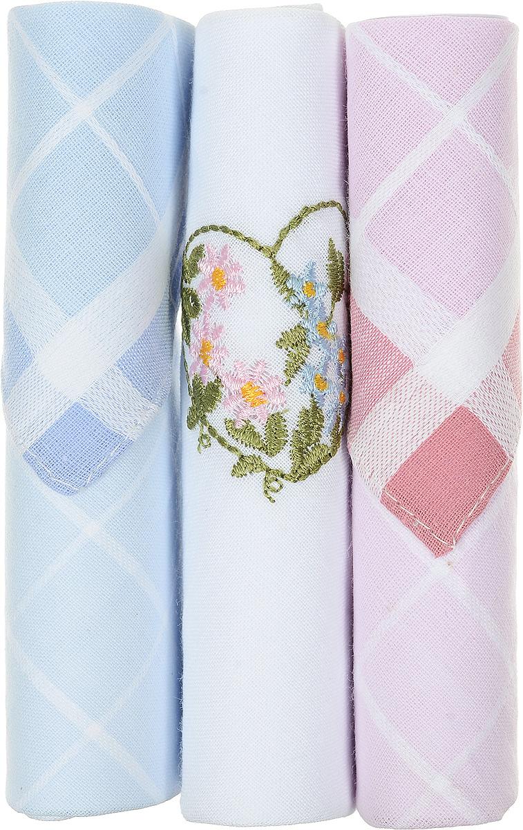 Платок носовой женский Zlata Korunka, цвет: голубой, белый, розовый, 3 шт. 40423-35. Размер 28 см х 28 смСерьги с подвескамиНебольшой женский носовой платок Zlata Korunka изготовлен из высококачественного натурального хлопка, благодаря чему приятен в использовании, хорошо стирается, не садится и отлично впитывает влагу. Практичный и изящный носовой платок будет незаменим в повседневной жизни любого современного человека. Такой платок послужит стильным аксессуаром и подчеркнет ваше превосходное чувство вкуса.В комплекте 3 платка.