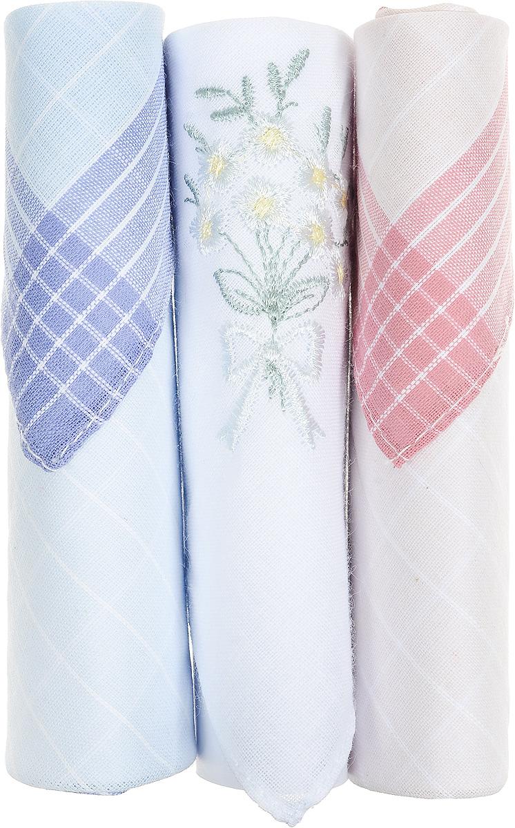 Платок носовой женский Zlata Korunka, цвет: голубой, белый, розовый, 3 шт. 40423-100. Размер 28 см х 28 смСерьги с подвескамиНебольшой женский носовой платок Zlata Korunka изготовлен из высококачественного натурального хлопка, благодаря чему приятен в использовании, хорошо стирается, не садится и отлично впитывает влагу. Практичный и изящный носовой платок будет незаменим в повседневной жизни любого современного человека. Такой платок послужит стильным аксессуаром и подчеркнет ваше превосходное чувство вкуса.В комплекте 3 платка.