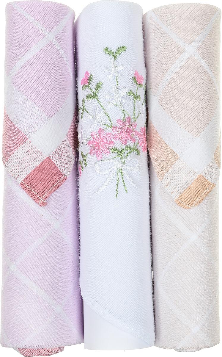 Платок носовой женский Zlata Korunka, цвет: розовый, белый, бежевый, 3 шт. 40423-73. Размер 28 см х 28 смСерьги с подвескамиНебольшой женский носовой платок Zlata Korunka изготовлен из высококачественного натурального хлопка, благодаря чему приятен в использовании, хорошо стирается, не садится и отлично впитывает влагу. Практичный и изящный носовой платок будет незаменим в повседневной жизни любого современного человека. Такой платок послужит стильным аксессуаром и подчеркнет ваше превосходное чувство вкуса.В комплекте 3 платка.