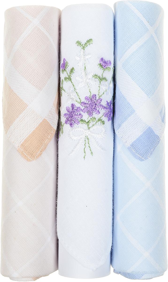 Платок носовой женский Zlata Korunka, цвет: бежевый, белый, голубой, 3 шт. 40423-75. Размер 28 см х 28 смСерьги с подвескамиНебольшой женский носовой платок Zlata Korunka изготовлен из высококачественного натурального хлопка, благодаря чему приятен в использовании, хорошо стирается, не садится и отлично впитывает влагу. Практичный и изящный носовой платок будет незаменим в повседневной жизни любого современного человека. Такой платок послужит стильным аксессуаром и подчеркнет ваше превосходное чувство вкуса.В комплекте 3 платка.