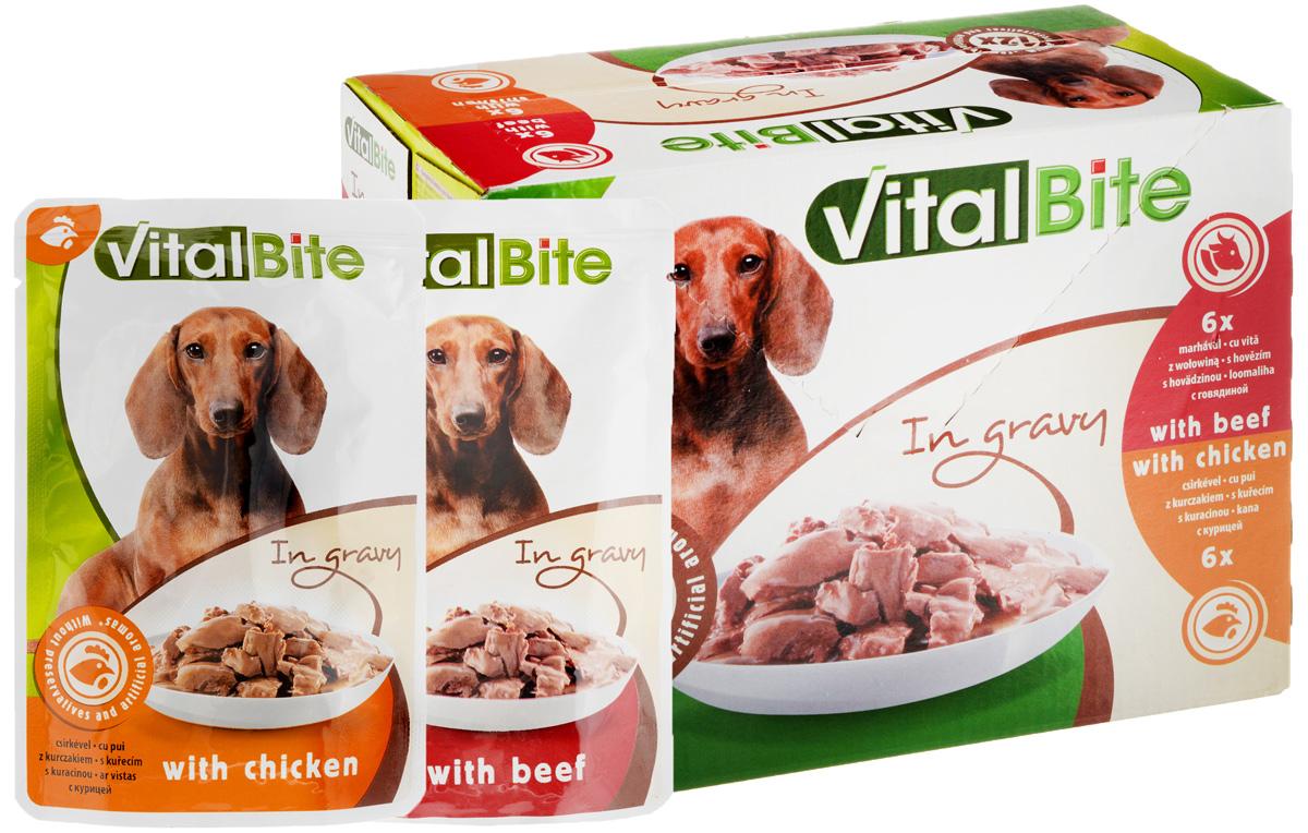 Консервы для собак VitalBite, говядина, 85 г х 6 шт, курица, 85 г х 6 шт990298Консервы для собак VitalBite - это полноценный консервированный корм для взрослых собак. В упаковке 12 паучей: 6 - с говядиной в соусе, 6 - с курицей в соусе. Товар сертифицирован.