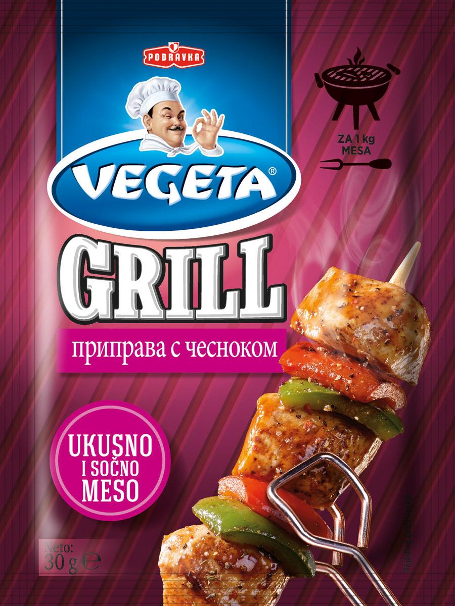 Vegeta Grill приправа с чесноком, 30 г24Гармония вкуса благодаря изысканной комбинации отборных специй и сушеных овощей придаст вашему блюду дух исключительности. А если к этой приправе добавить еще петрушку и сельдерей, можете быть уверены, что с таким маринадом готовят что-то действительно интересное. Только настоящий, естественный вкус. Сочное, вкусное мясо и рыба, пропитанные ароматом чеснока.