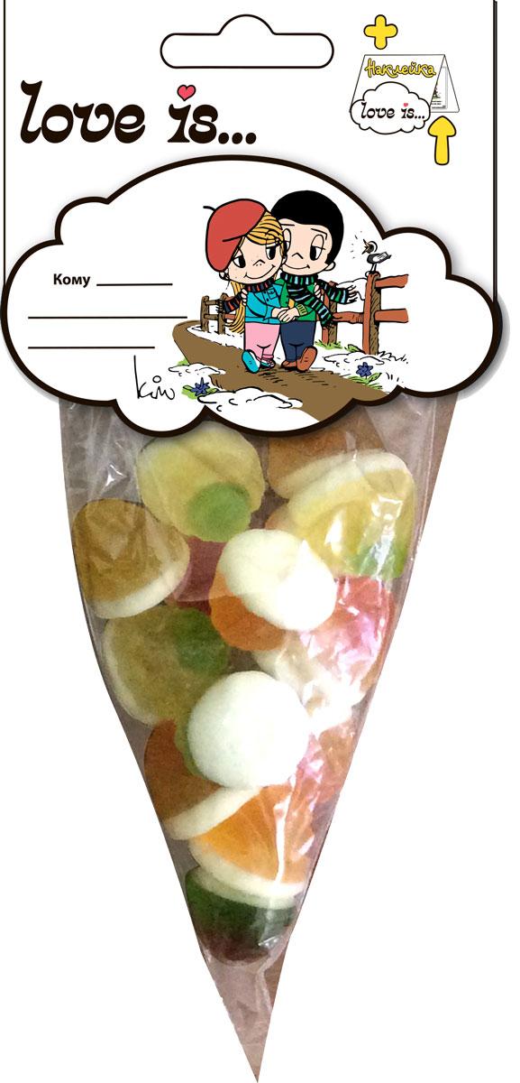 Love is мармелад ВайтМикс, 75 г0120710Побалуйте любимых! Мармелад Love is с жидким центом - идеальное лакомство! Разнообразие вкусов обрадует каждого: арбуз, апельсин, яблоко, персик. Каждая мармеладинка - это загадка, какой же вкус будет внутри! А внутри упаковки стикер с любимыми героями.Уважаемые клиенты! Обращаем ваше внимание на то, что упаковка может иметь несколько видов дизайна. Поставка осуществляется в зависимости от наличия на складе.