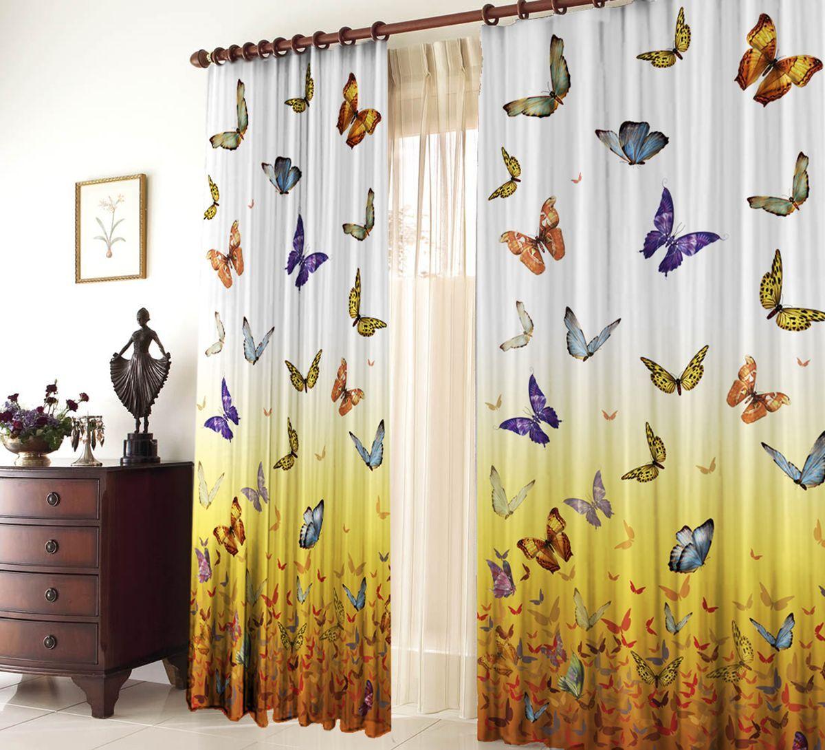 Комплект фотоштор Zlata Korunka Butterfly, на ленте, высота 270 см1004900000360Комплект фотоштор Zlata Korunka изготовлен из габардиновой ткани высочайшего качества. Фотошторы способны не пропускать самый яркий свет, их можно гладить и стирать. Рекомендации по уходу: бережная стирка при 30°С, деликатный отжим, отбеливание запрещено, гладить при температуре не более 150°С. Светопоглощение 70%. Плотность ткани: 150 г/м2. Оттенок изделия может отличаться от представленного на сайте в силу особенностей цветопередачи фототехники и вашего монитора.