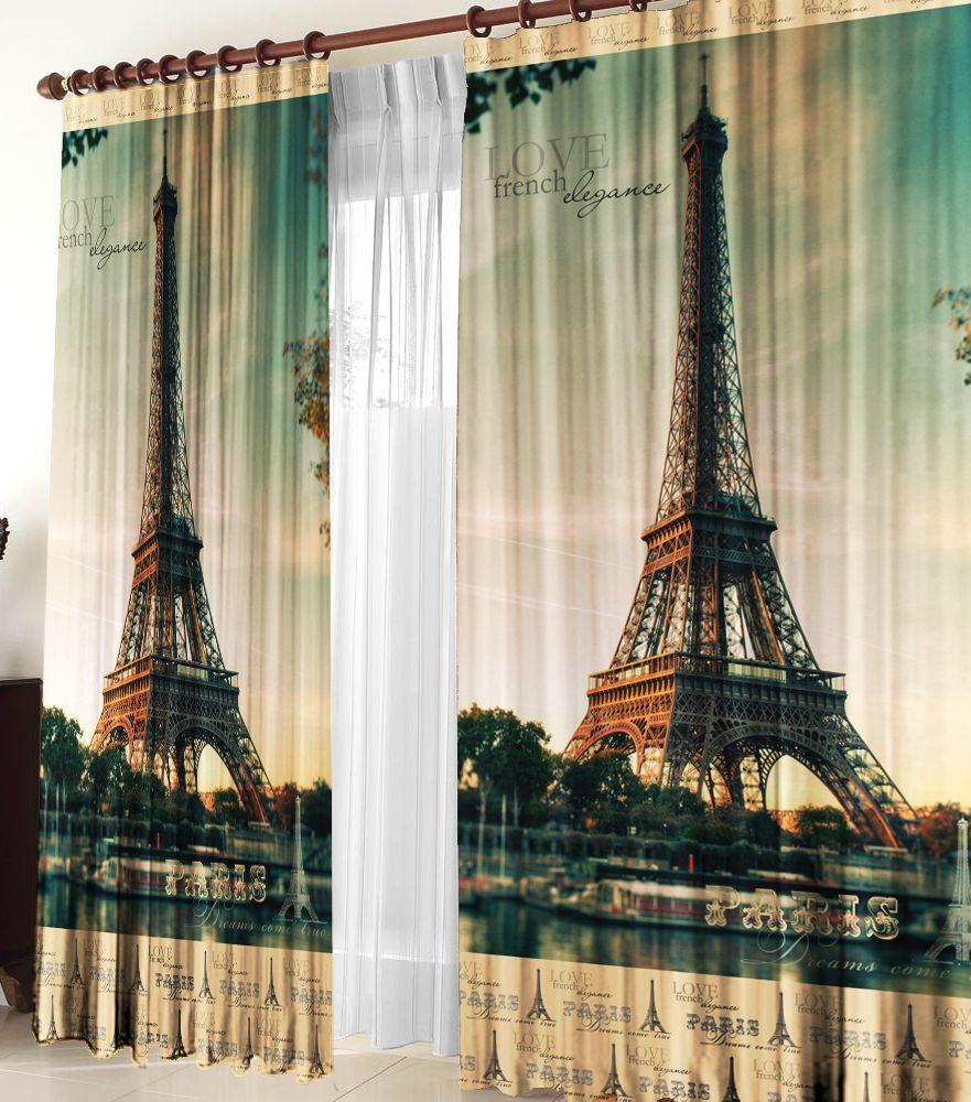"Комплект фотоштор Zlata Korunka ""Париж"", на ленте, высота 270 см"