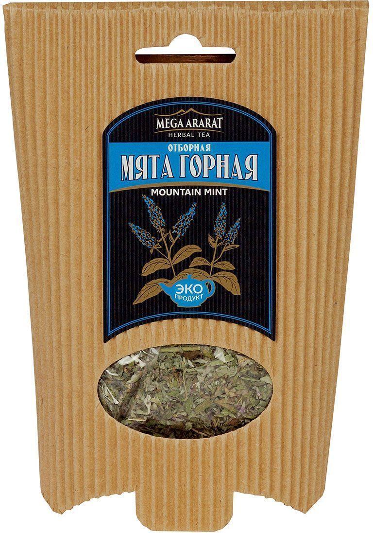 Mega Ararat Мята горная отборная травяной чай листовой, 25 г4850005720122Mega Ararat Мята горная - натуральный продукт из высокогорных, экологически чистых регионов Армении ручной сборки и традиционной сушки без химических добавок. Мятный чай нормализует давление, улучшает работу сердца, хороший помощник при мигрени, простудных заболеваниях. Чайный напиток мяты эффективен при расстройствах желудка, помогает улучшить пищеварение, снять тошноту, укрепить организм при упадке сил. На нервную систему мята оказывает комплексное воздействие: тонизирует, успокаивает, избавляет от бессонницы, улучшает работу мозга.
