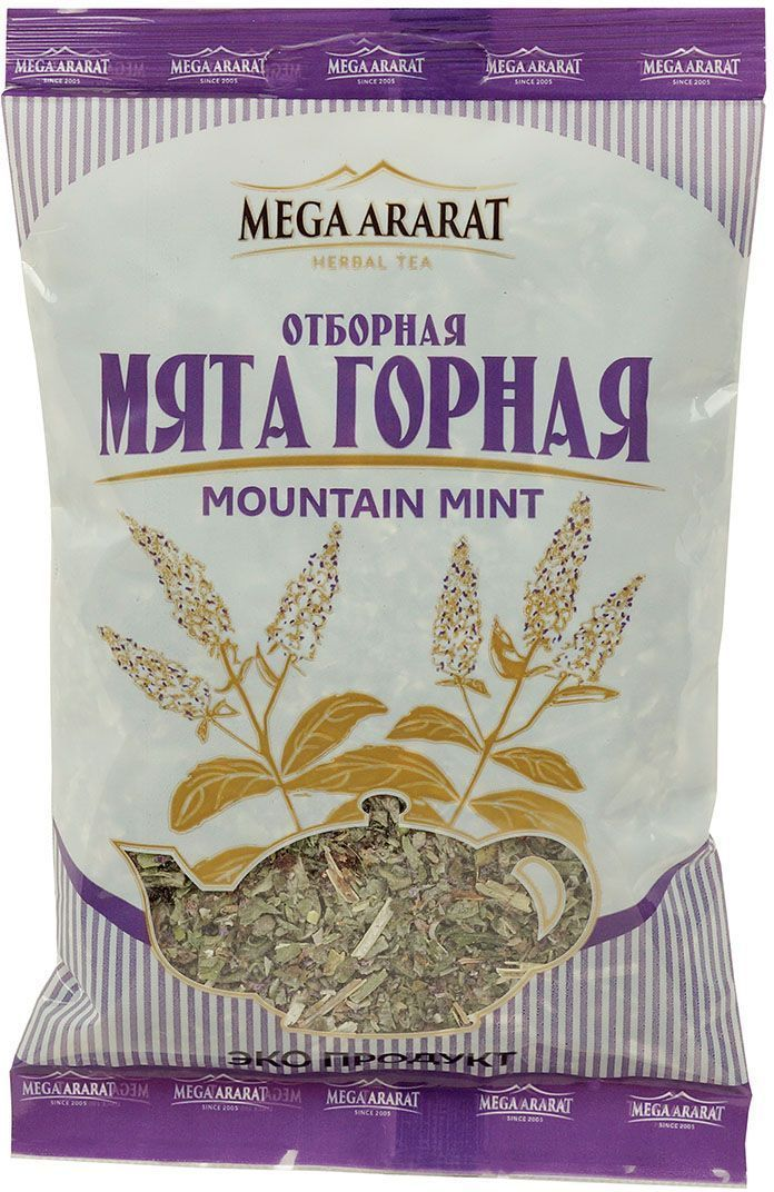 Mega Ararat Мята горная отборная травяной чай листовой, 25 г4850005720191Mega Ararat Мята горная - натуральный продукт из высокогорных, экологически чистых регионов Армении ручной сборки и традиционной сушки без химических добавок. Мятный чай нормализует давление, улучшает работу сердца, хороший помощник при мигрени, простудных заболеваниях. Чайный напиток мяты эффективен при расстройствах желудка, помогает улучшить пищеварение, снять тошноту, укрепить организм при упадке сил. На нервную систему мята оказывает комплексное воздействие: тонизирует, успокаивает, избавляет от бессонницы, улучшает работу мозга.