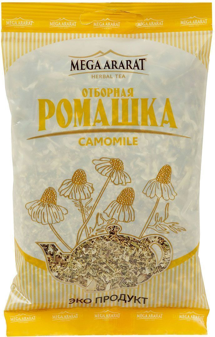 Mega Ararat Ромашка цветки травяной чай листовой, 50 г4850005720221Mega Ararat Ромашка цветки - натуральный продукт из высокогорных, экологически чистых регионов Армении ручной сборки и традиционной сушки без химических добавок. Ромашковый чай обладает сильным антисептическим свойством. Используется для профилактики простудных заболеваний, может снимать воспаление и спазмы при заболеваниях желудка, уменьшать боль. Снижает риск возникновения камней в почках и желчном пузыре. Оказывает мягкое успокаивающее действие на центральную нервную систему, помогает справиться с негативным воздействием стрессов, бессонницей.