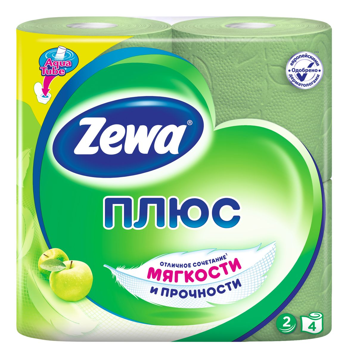 Туалетная бумага Zewa Плюс Яблоко, 2 слоя, 4 рулона391602Туалетная бумага Zewa Плюс - это отличное сочетание мягкости и прочности. Она одобренадерматологами и прекрасно подойдет всем членам вашей семьи – и тем, кому нужна мягкая бумага, и тем, кому важна прочность.Позаботьтесьо себе и своих близких вместе с Zewa.Сенсация! Со смываемой втулкой Aqua Tube!Зеленая 2-х слойная туалетная бумага с ароматом яблока4 рулона в упаковкеСостав: вторичное сырьеПроизводство: Россия