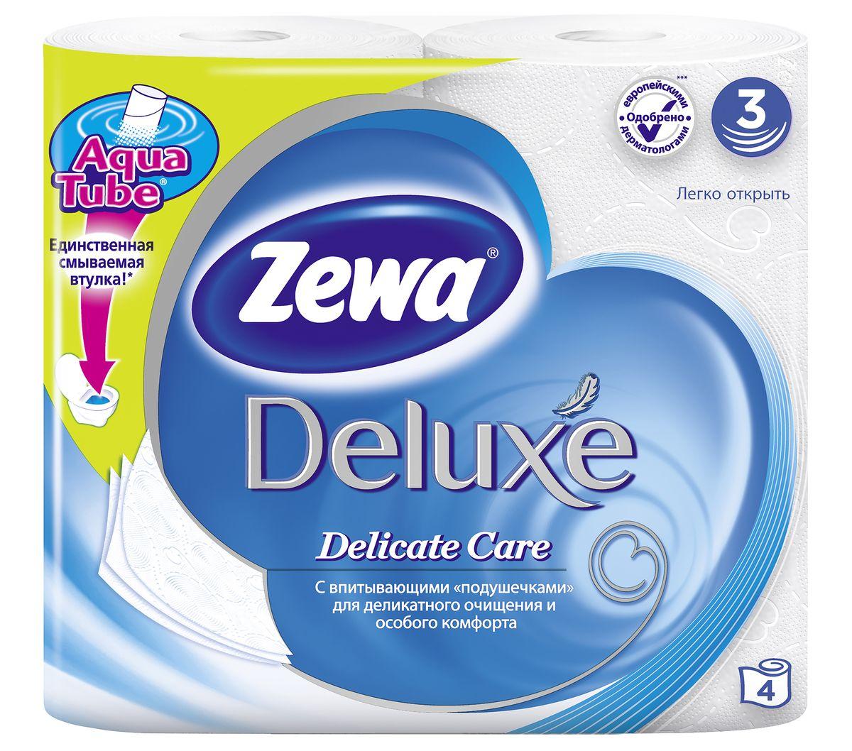 Туалетная бумага Zewa Deluxe Белая, 3 слоя, 4 рулона97526Подарите себе удовольствие от ежедневного ухода за собой. Zewa Deluxe сновыми впитывающими подушечками деликатно очищает и нежно заботится о вашей коже.Мягкость, Забота, Комфорт – вашей коже это понравится! Сенсация! Со смываемой втулкой Aqua Tube! Белая 3-х слойная туалетная бумага без аромата 4 рулона в упаковке Состав: целлюлоза Производство: Россия