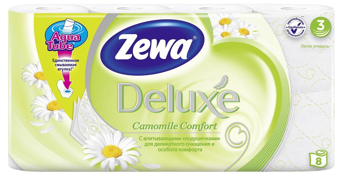 Туалетная бумага Zewa Deluxe Ромашка, 3 слоя, 8 рулонов787502Подарите себе удовольствие от ежедневного ухода за собой. Zewa Deluxe сновыми впитывающими подушечками деликатно очищает и нежно заботится о вашей коже.Мягкость, Забота, Комфорт – вашей коже это понравится!Сенсация! Со смываемой втулкой Aqua Tube!Белая 3-х слойная туалетная бумага с ароматом ромашки8 рулонов в упаковкеСостав: целлюлозаПроизводство: Россия