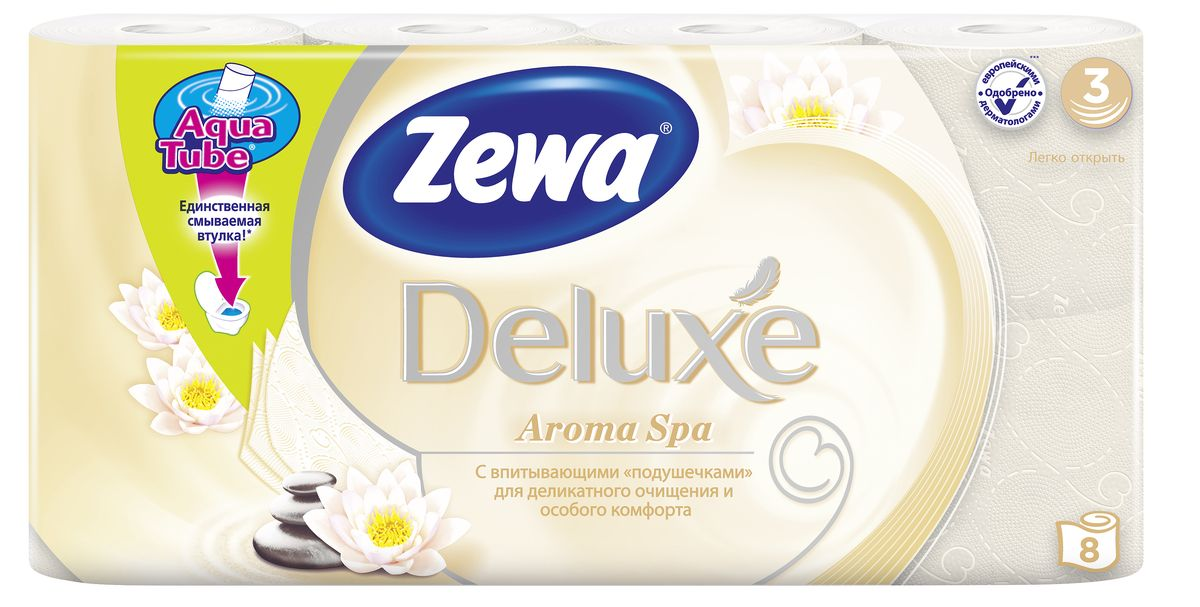 Туалетная бумага Zewa Deluxe АромаСпа, 3 слоя, 8 рулоновKOC2028LEDПодарите себе удовольствие от ежедневного ухода за собой. Zewa Deluxe сновыми впитывающими подушечками деликатно очищает и нежно заботится о вашей коже.Мягкость, Забота, Комфорт – вашей коже это понравится!Сенсация! Со смываемой втулкой Aqua Tube!3-х слойная туалетная бумага цвета шампань с тонким ароматом ароматического масла8 рулонов в упаковкеСостав: вторичное волокноПроизводство: Россия