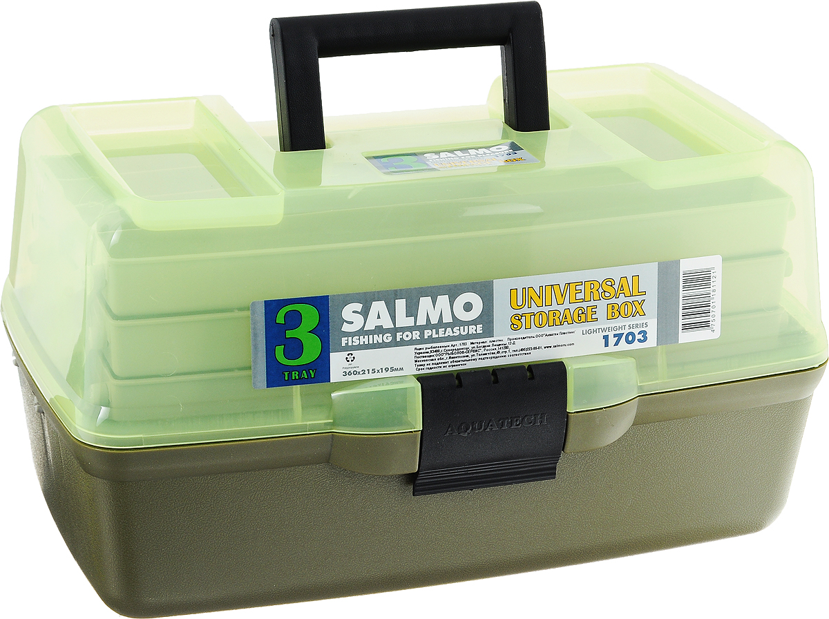 Ящик рыболовный Salmo, трехполочный, цвет: зеленый10936Рыболовный ящик Salmo выполнен из пластика и отлично подойдет рыболовам. Эконом-версия ящика с подъёмными полками. Ящик Salmo более компактен и имеет меньший вес по сравнению с аналогами. Оборудован тремя подъёмными полками. В ящик можно положить все необходимое для длительного нахождения на рыбалке.