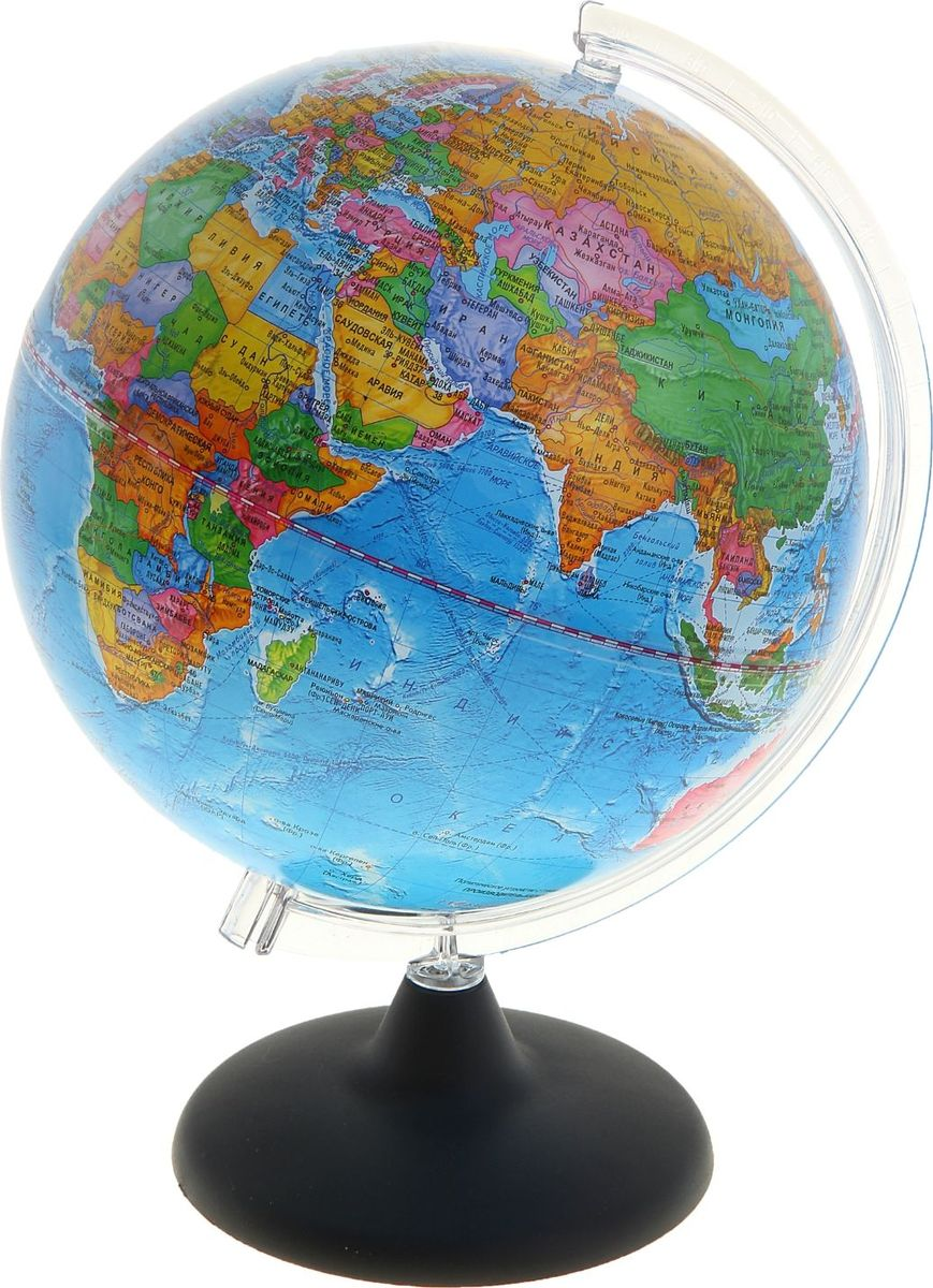 Глобусный мир Глобус политический диаметр 25 см10390Глобус для всех, глобус каждому!Глобус — самый простой способ привить ребенку любовь к географии. Он является отличным наглядным примером, который способен в игровой доступной и понятной форме объяснить понятия о планете Земля.Также интерес к глобусам проявляют не только детки, но и взрослые. Для многих уменьшенная копия планеты заменяет атлас мира из-за своей доступности и универсальности.Умный подарок! Кому принято дарить глобусы? Всем! Глобус политический диаметр 250 мм — это уменьшенная копия земного шара, в которой каждый найдет для себя что-то свое.путешественники и заядлые туристы смогут отмечать с помощью стикеров те места, в которых побывали или собираются их посетитьделовые и успешные люди оценят такой подарок по достоинству, потому что глобус ассоциируется со статусом и властьюпреподаватели, ученые, студенты или просто неординарные личности также найдут для глобуса достойное место в своем доме.Итак, спешите заказать настольные глобусы в нашем интернет-магазине по привлекательным ценам, и помните, кто владеет глобусом, тот владеет миром!
