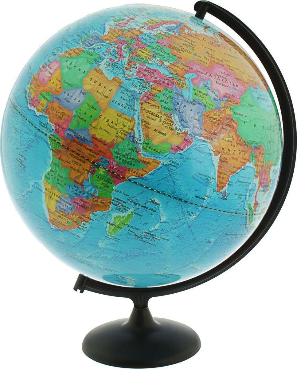 Глобусный мир Глобус политический диаметр 42 см1065223Глобус для всех, глобус каждому!Глобус — самый простой способ привить ребенку любовь к географии. Он является отличным наглядным примером, который способен в игровой доступной и понятной форме объяснить понятия о планете Земля.Также интерес к глобусам проявляют не только детки, но и взрослые. Для многих уменьшенная копия планеты заменяет атлас мира из-за своей доступности и универсальности.Умный подарок! Кому принято дарить глобусы? Всем! Глобус политический диаметр 420 мм — это уменьшенная копия земного шара, в которой каждый найдет для себя что-то свое.путешественники и заядлые туристы смогут отмечать с помощью стикеров те места, в которых побывали или собираются их посетитьделовые и успешные люди оценят такой подарок по достоинству, потому что глобус ассоциируется со статусом и властьюпреподаватели, ученые, студенты или просто неординарные личности также найдут для глобуса достойное место в своем доме.Итак, спешите заказать настольные глобусы в нашем интернет-магазине по привлекательным ценам, и помните, кто владеет глобусом, тот владеет миром!