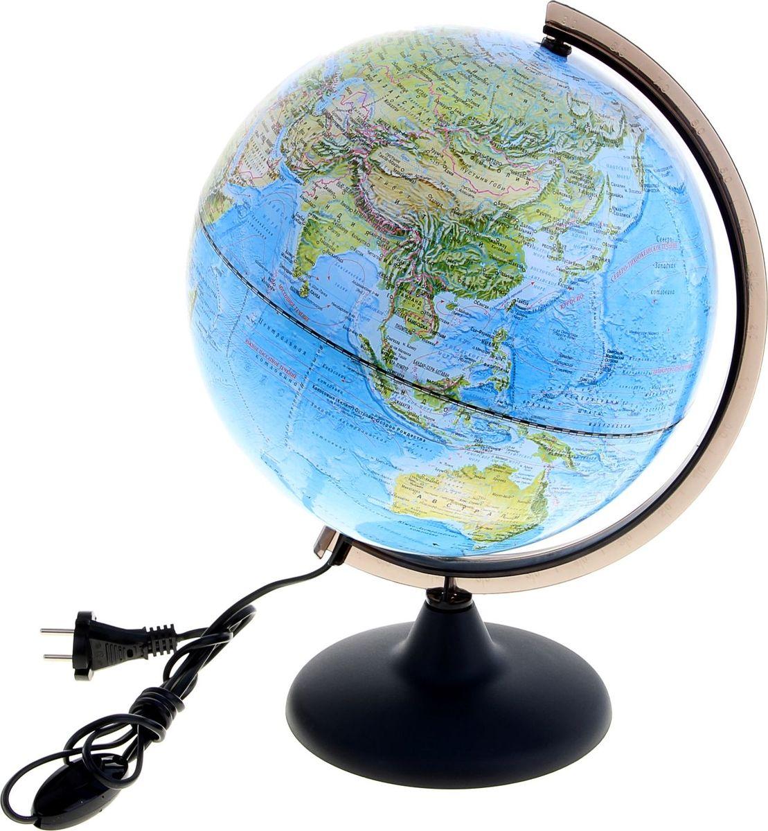 Глобусный мир Глобус ландшафтный с подсветкой диаметр 25 смFS-00897Глобус для всех, глобус каждому!Глобус — самый простой способ привить ребенку любовь к географии. Он является отличным наглядным примером, который способен в игровой доступной и понятной форме объяснить понятия о планете Земля.Также интерес к глобусам проявляют не только детки, но и взрослые. Для многих уменьшенная копия планеты заменяет атлас мира из-за своей доступности и универсальности.Умный подарок! Кому принято дарить глобусы? Всем! Глобус ландшафтный диаметр 250 мм, с подсветкой — это уменьшенная копия земного шара, в которой каждый найдет для себя что-то свое.путешественники и заядлые туристы смогут отмечать с помощью стикеров те места, в которых побывали или собираются их посетитьделовые и успешные люди оценят такой подарок по достоинству, потому что глобус ассоциируется со статусом и властьюпреподаватели, ученые, студенты или просто неординарные личности также найдут для глобуса достойное место в своем доме.Итак, спешите заказать настольные глобусы в нашем интернет-магазине по привлекательным ценам, и помните, кто владеет глобусом, тот владеет миром!