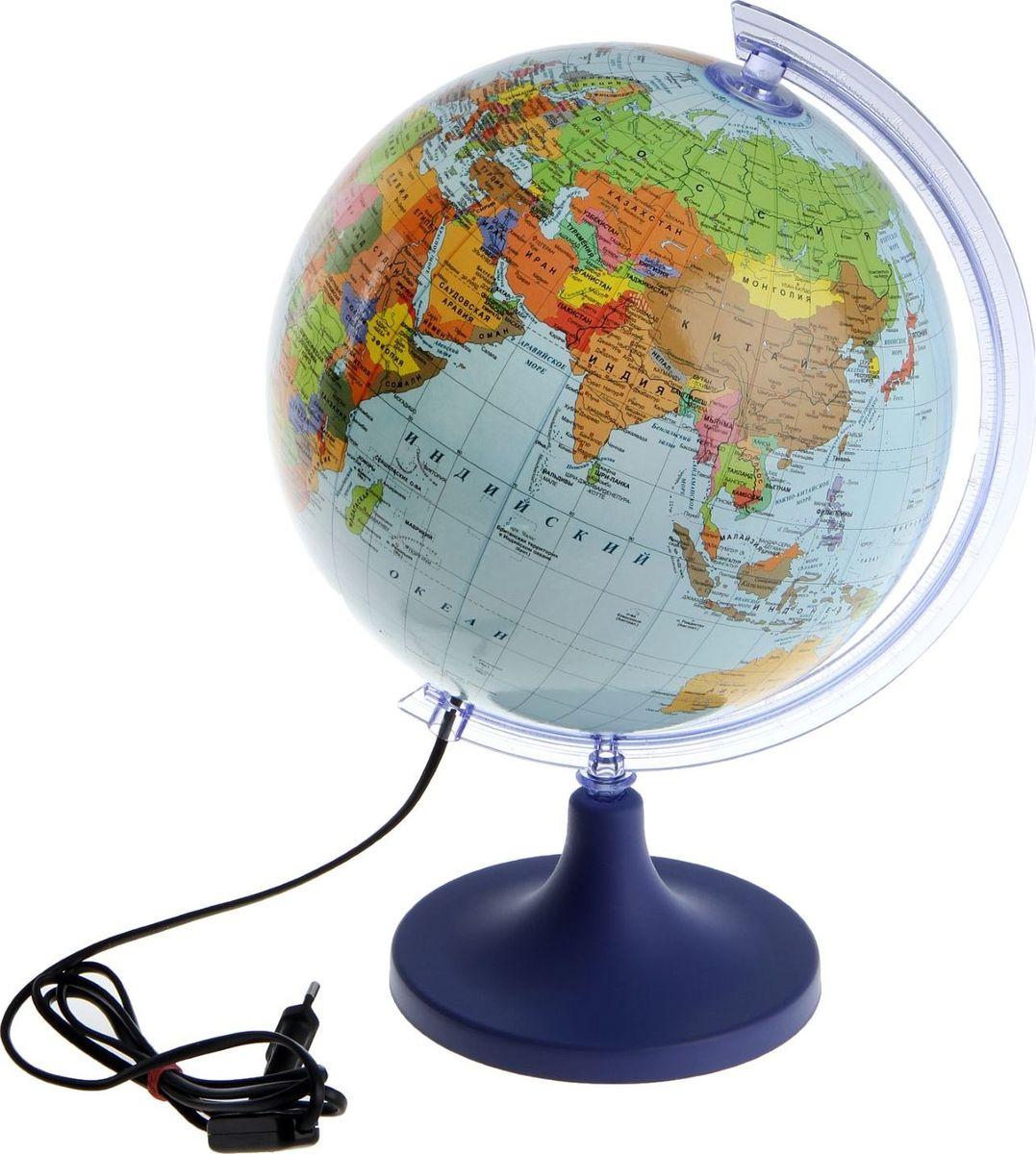Glowala Глобус политический с подсветкой диаметр 25 см -  Канцтовары и организация рабочего места