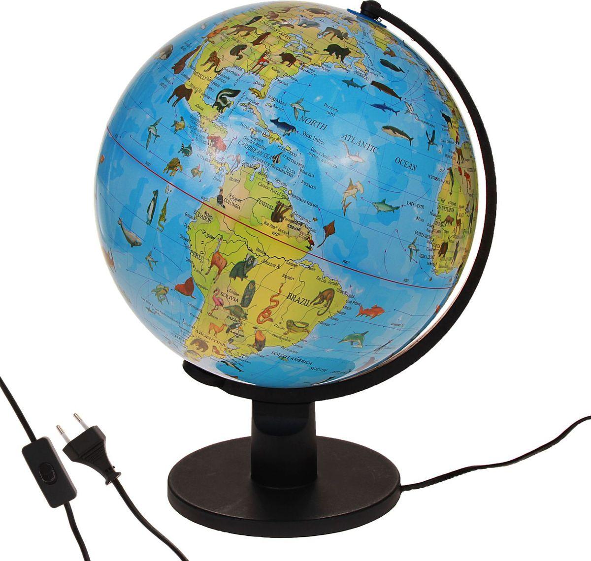 Глобус Ареал животных на английском языке диаметр 30 смКе013200233Этот макет земного шара дает информацию о распространении живых существ по континентам и водам мирового океана. С его помощью вы увидите, на какой территории обитает определенный вид животного. Помните, что границы ареалов условны, потому что не все популяции постоянно проживают в пределах одной зоны. На глобусе также отображены: страны, столицы и названия некоторых крупных населенных пунктов экватор параллели меридианы градусы государственные границы демаркационные линии.Используйте изделие как ночник. Он оснащен мягкой, приглушенной LED-подсветкой. Характеристики Объекты подписаны на английском языке. Высота глобуса с подставкой: 42 см. Диаметр: 30 см. Масштаб: 1:42 500 000. Изготовлен из прочного пластика.