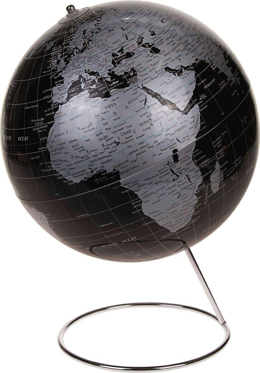 Глобус Политическая карта на английском языке диаметр 25 смFS-00897Данная модель дает представление о политическом устройстве мира. Макет показывает расположение государств, столиц и крупных населенных пунктов. Названия всех объектов приведены на английском языке. Сфера выполнена в черно-серебристом цвете. На глобусе отображены: экватор параллели меридианы градусы государственные границы демаркационные линии. Характеристики Высота глобуса с подставкой: 38 см. Диаметр: 25 см. Масштаб: 1:50 000 000. Шар изготовлен из прочного пластика, подставка металлическая.