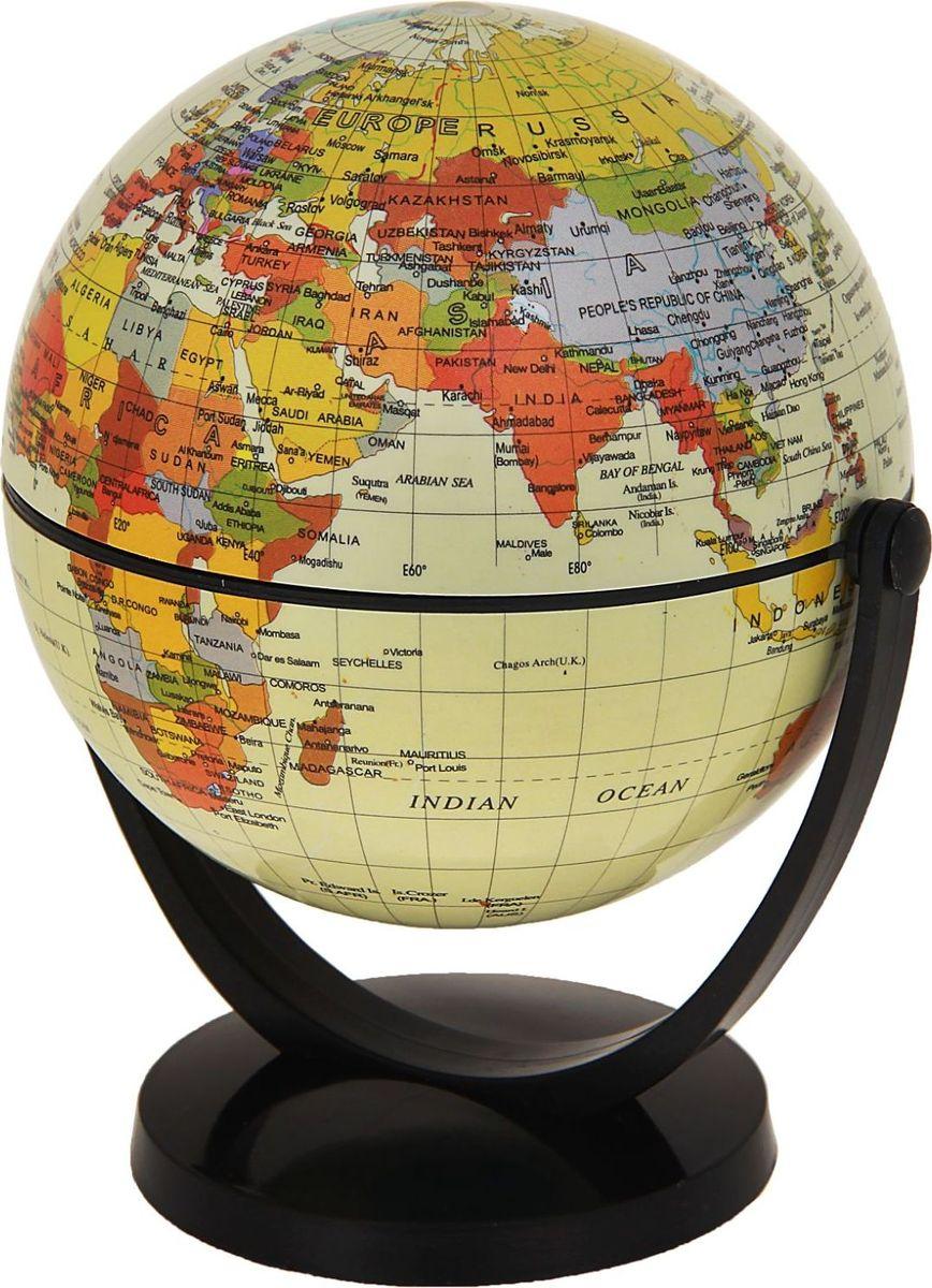 Глобус Политическая карта на английском языке цвет кремовый диаметр 10,6 см цвет кремовыйКе022500195Данная модель дает представление о политическом устройстве мира. Макет показывает расположение государств, столиц и крупных населенных пунктов. Названия всех объектов приведены на английском языке. Страны окрашены в разные цвета, чтобы вам было удобнее ориентироваться. На глобусе отображены: экватор параллели меридианы градусы государственные границы демаркационные линии железнодорожные и морские пути сообщения. Характеристики Высота глобуса с подставкой: 13 см. Диаметр: 10.6 см. Изделие изготовлено из прочного пластика.