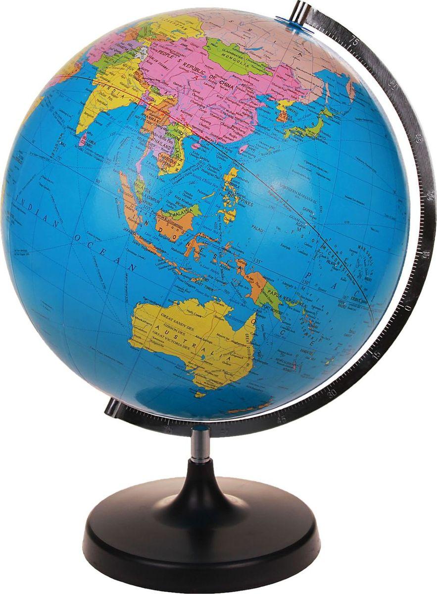 Глобус Политическая карта на английском языке диаметр 33 смFS-00897Данная модель дает представление о политическом устройстве мира. Макет показывает расположение государств, столиц и крупных населенных пунктов. Названия всех объектов приведены на английском языке. Страны окрашены в разные цвета, чтобы вам было удобнее ориентироваться. На глобусе отображены: экватор параллели меридианы градусы государственные границы демаркационные линии железнодорожные и морские пути сообщения. Характеристики Высота глобуса с подставкой: 53 см. Диаметр: 33 см. Масштаб: 1:40 000 000.Изделие изготовлено из прочного пластика.