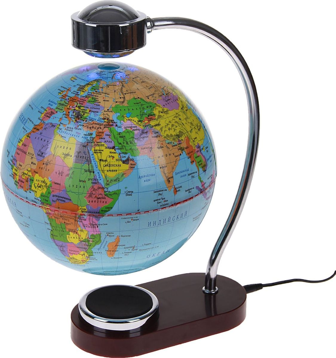 Глобус Политическая карта диаметр 20 смFS-00897Глобус сувенирный на магнитном поле, с подсветкой, d=20 см, политическая карта, русский язык, 220 В — это украшение рабочего места и кладезь полезной информации о Земле. С его помощью вы увидите полет планеты в миниатюре. Этот гаджет имеет еще несколько названий: антигравитационный, левитирующий или левитрон. Раскроем секрет этого чуда. В базу встроен электромагнит, а в шар — магнит с противоположным зарядом. В результате сфера зависает в воздухе и вращается вокруг своей оси. Особенности антигравитационного глобуса Поворачивайте шар, пока он парит в воздухе. Это снимает нервное напряжение и помогает отвлечься от рутинной работы. Оригинальная задумка станет вашим источником вдохновения во время умственного процесса.