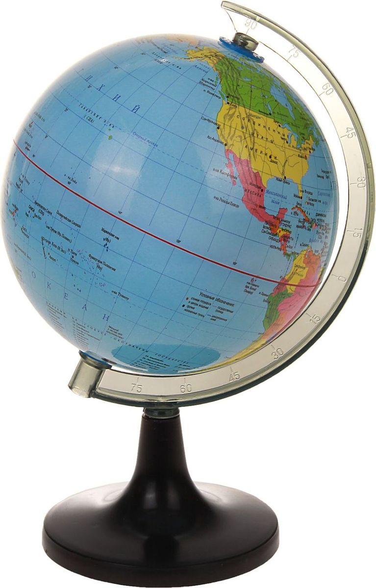 Данная модель дает представление о политическом устройстве мира. Макет показывает расположение государств, столиц и крупных населенных пунктов. Названия всех объектов приведены на русском языке. Страны окрашены в разные цвета, чтобы вам было удобнее ориентироваться. Изделие изготовлено из прочного пластика. На глобусе также отображены: экватор параллели меридианы градусы государственные границы демаркационные линии. Характеристики Высота глобуса с подставкой: 22 см. Диаметр: 14 см.