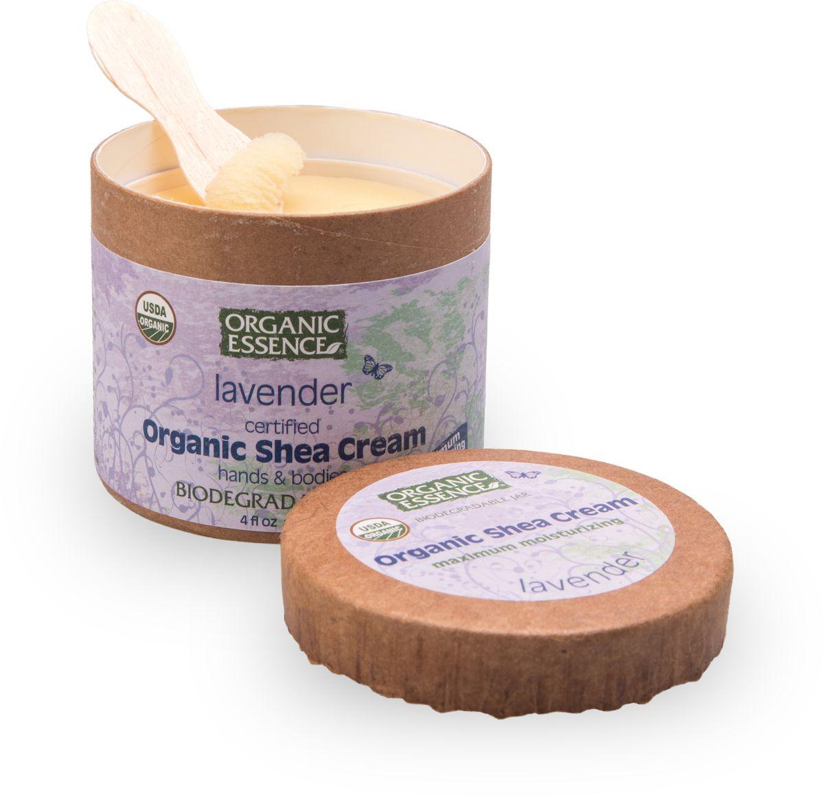 Organic Essence Органический крем Ши (Карите), Лаванда 114 г/118 млCCLAVUSDA Organic сертифицированный продукт. Интенсивное увлажнение. Подходит для ежедневного применения. В состав Органического крема Ши входит органическая лаванда, которая славится своими свойствами релаксации. Лаванда восстанавливает баланс кожи, что делает его идеальным для любого типа кожи. После нанесения средств, содержащих масло лаванды, мгновенно снимаются покраснения, отеки, шелушение, раздраженности, воспаления, приглушается зуд.Органический крем Ши лавандаидеально подходит для специального ухода за поврежденной или сверхчувствительной кожей, проявляет удивительные тонизирующие свойства для усталой и дряблой кожи. Снимая не только воспалительную сыпь, но и препятствуя росту бактерий, лавандовое масло при одновременном воздействии на уровень жировых выделений и нормализации обмена веществ идеально подходит для обработки прыщей.Лавандовое масло не является аллергенным. Лаванда помогает при расстройствах, вызванных стрессом, и бессоннице.