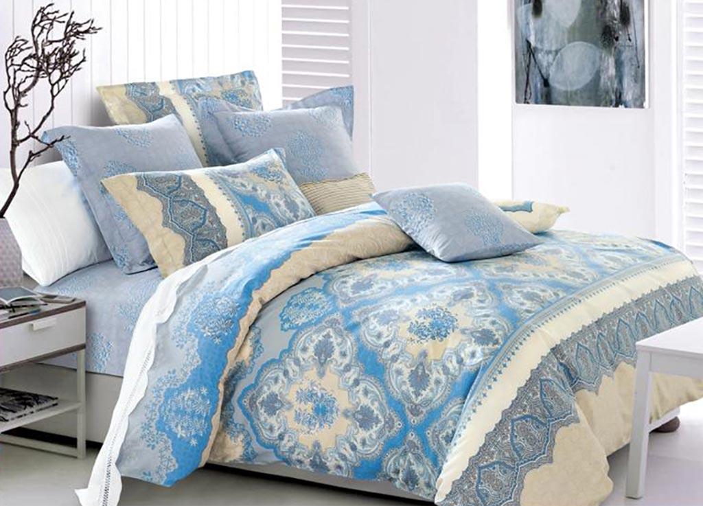 Комплект белья Primavera Салфетка голубая, евро, наволочки 70x7092045