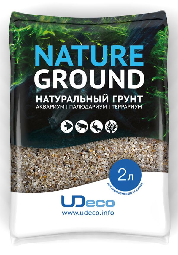Грунт для аквариума UDeco Светлый песок, натуральный, 0,8-2 мм, 2 л0120710Натуральный грунт UDeco Светлый песок предназначен специально для оформления аквариумов, палюдариумов и террариумов. Изделие готово к применению.Грунт UDeco порадует начинающих любителей природы и самых придирчивых дизайнеров, стремящихся к созданию нового, оригинального. Такая декорация придутся по вкусу и обитателям аквариумов и террариумов, которые ещё больше приблизятся к природной среде обитания.Необходимое количество грунта рассчитывается по формуле:длина аквариума х ширина аквариума х толщина слоя грунта. Предназначен для аквариумов от 25 литров. Фракция: 0,8-2 мм.Объем: 2 л.
